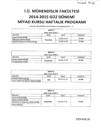 2014-2015 Güz dönemi MİYAD kursu haftalık programı için tıklayın