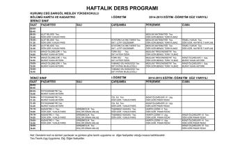 2014-2015 öğretim yılı harita ve kadastro haftalık ders programı