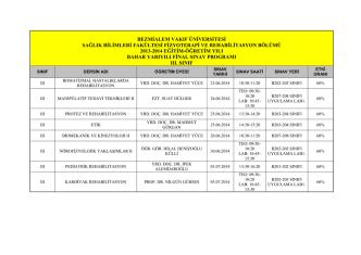 2013-2014 Bahar 2. Sınıf Final Sınav Programı