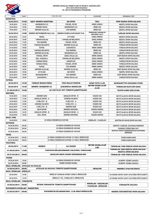 34. Hafta Müsabaka Programı - Mersin Gençlik Spor il Müdürlüğü