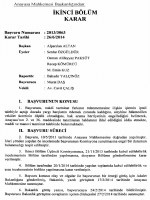 Anayasa Mahkemesinin 26/6/2014 Tarihli ve 2013