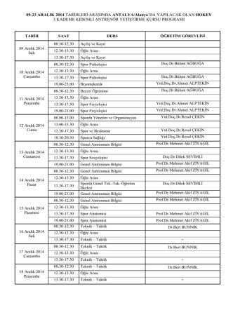 3. kademe kurs programı
