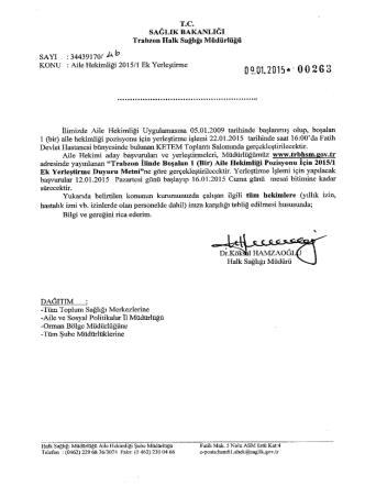 dağıtım yazısı için tıklayınız - Trabzon Halk Sağlığı Müdürlüğü