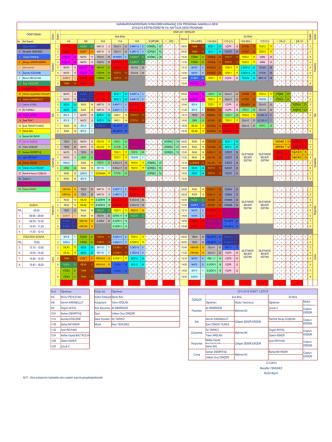 15 Eylül 2014 den itibaren geçerli ders programı.