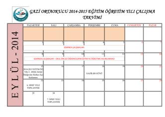 2014-2015 GAZİ ORTAOKULU yıllık çalışma planı için tıklayın
