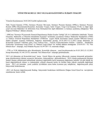 2013 Yılı Karının Dağıtımına İlişkin Yönetim Kurulu Teklifi