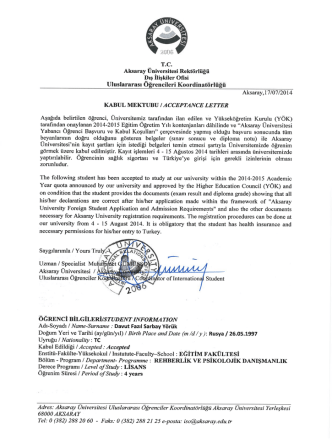 Davut Fazıl Sarbay Yörük - Aksaray Üniversitesi Dış İlişkiler