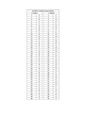 10.UMY 4. Sınıflar Cevap Anahtarı 4. SINIF A 4. SINIF B 1 E 1 C 2 C