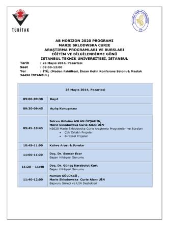 ab horızon 2020 programı marıe sklodwska curıe araştırma