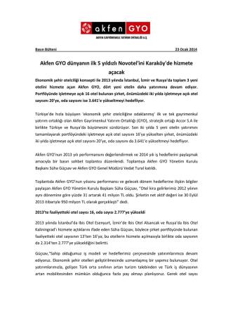 Akfen GYO Basın Bülteni Ocak 2014