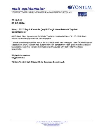 2014-011 6527 Sayılı Kanunla Çeşitli Vergi Kanunlarında Yapılan