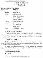 Anayasa Mahkemesinin 9/1/2014 Tarihli ve 2013