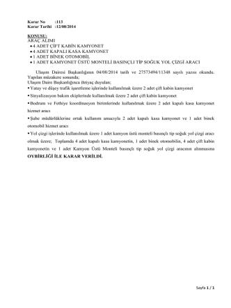 ARAÇ ALIMI •4 ADET ÇİFT KABİN KAMYONET •4 ADET KAPALI