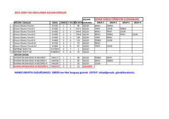 2013-2014 YAZ OKULUNDA AÇILAN DERSLER DERSE GİRECE