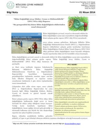 Bilgi Notu 01 Nisan 2014
