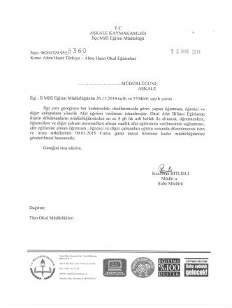 c aşkale kaymakamlığe - erzurum - aşkale ilçe millî eğitim müdürlüğü