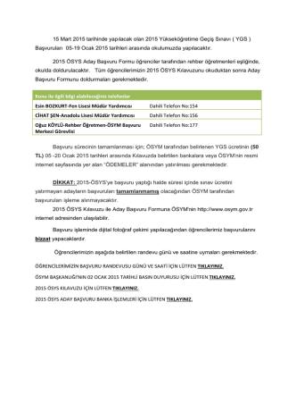 Başvuruları 05-19 Ocak 2015 tarihleri