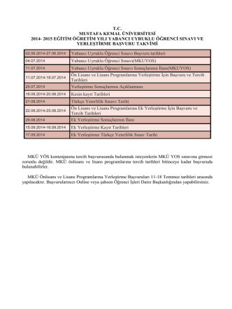 2014 Registration Calender - Mustafa Kemal Üniversitesi