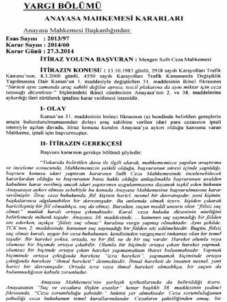 Anayasa Mahkemesinin 27/3/2014 Tarihli ve E