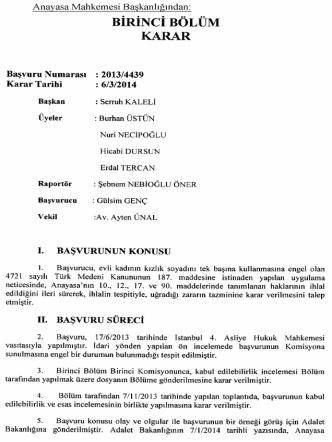 Anayasa Mahkemesinin 6/3/2014 Tarihli ve 2013