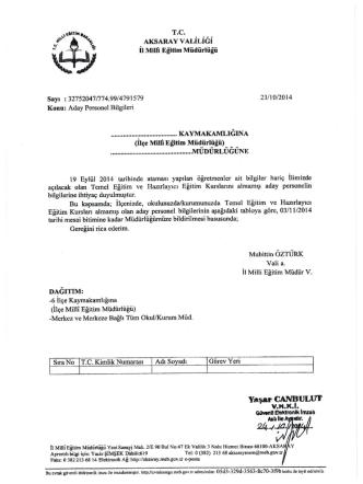 Aday Personel Bilgileri - Aksaray Milli Eğitim Müdürlüğü