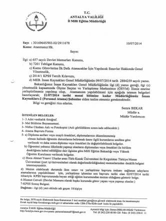 2014-KPSS Atamaları - Antalya Milli Eğitim Müdürlüğü