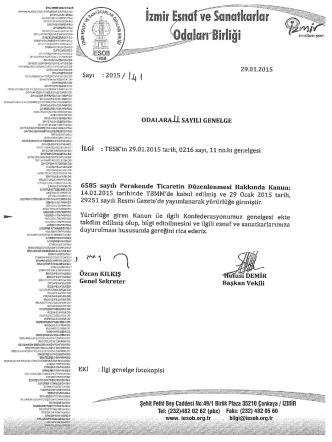 2015/11 - 6585 sayılı Perakende Ticaretin Düzenlenmesi Hakkında