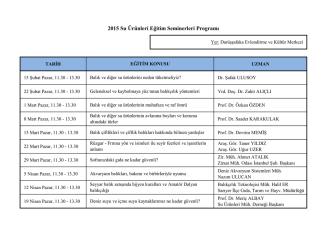2015 Su Ürünleri Eğitim Seminerleri Programı