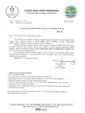 Bitlis Kurs Yazısı - Türkiye Masa Tenisi Federasyonu