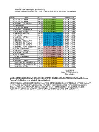 2014-2015 sorumluluk sınav takvimi