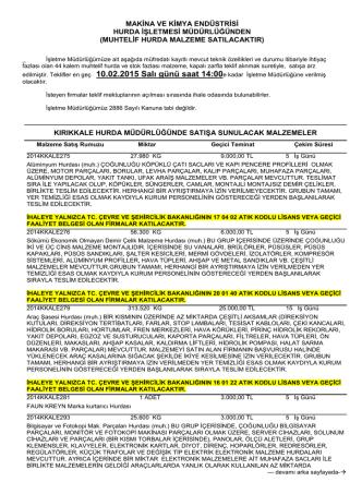 10.02.2015 tarihli muhtelif hurda malzeme ihale listesi