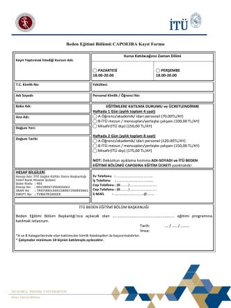 CAPOEIRA Kayıt Formu - İTU Spor Kulübü