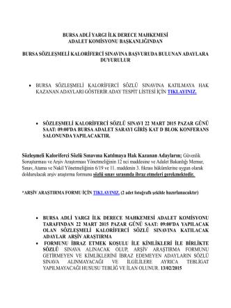Bursa Sözleşmeli Kaloriferci Başvuru Listesi.