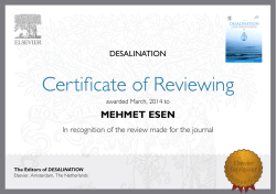 MEHMET ESEN The Editors of DESALINATION