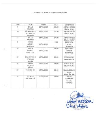 2014/2015 sorumluluk sınav takvimidir