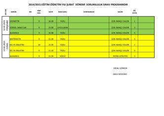2014/2015 eğitim öğretim yılı şubat dönemi sorumluluk sınav
