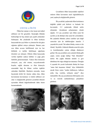 Çocuk ve Ölüm - TED İzmir Koleji