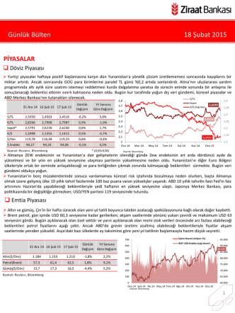 18 Şubat 2015 tarihli piyasa yorumu