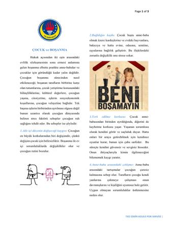 Çocuk ve Boşanma - TED İzmir Koleji