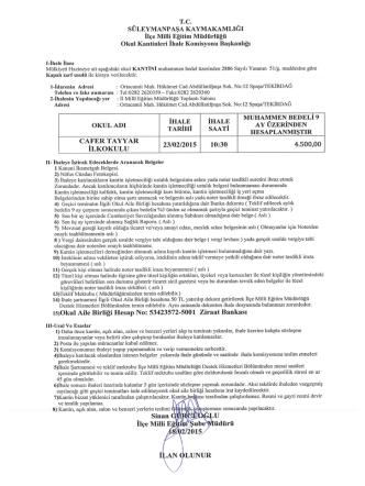 Cafer Tayyar İlkokulu Müdürlüğü Okul Kantin İhalesi 18.02.2015 10:06