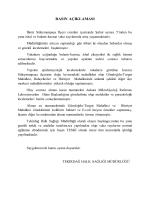 basın açıklaması - Tekirdağ Halk Sağlığı Müdürlüğü