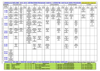 2007 - 2008 eğitim-öğretim yılı bahar dönemi coğrafya bölümü ders