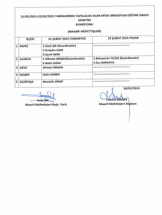 21-22/02/2015 tarihinde yapılacak olan mtsk direksiyon eğitimi