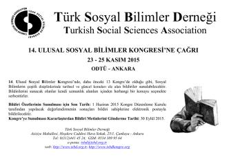 afişi - Türk Sosyal Bilimler Derneği
