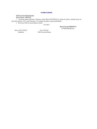 ATAMA KARARI Milli Savunma Bakanlığından: Karar