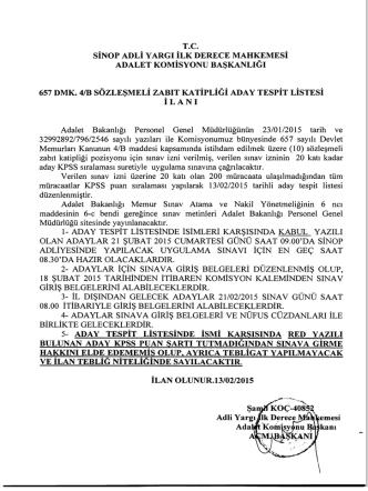 13.02.2015- Sinop Adliyesi Sözleşmeli Zabıt