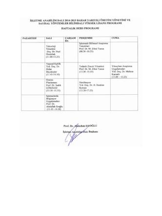 2014-2015 Eğitim Öğretim Bahar Yarıyılı İşletme Anabilim Dalı
