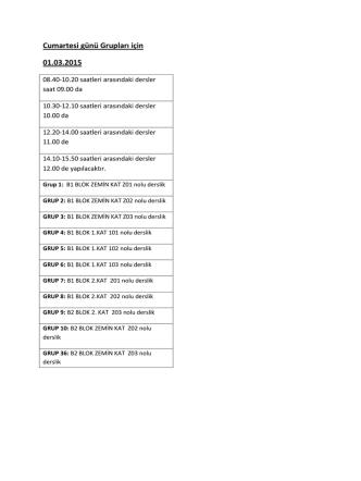 Cumartesi Gruplarının Final Programı