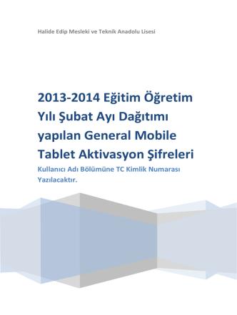 2013-2014 Eğitim Öğretim Yılı Şubat Ayı Dağıtımı yapılan General