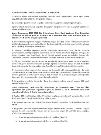 2014-2015 BAHAR DÖNEMİ DERS SEÇİMLERİ HAKKINDA 2014